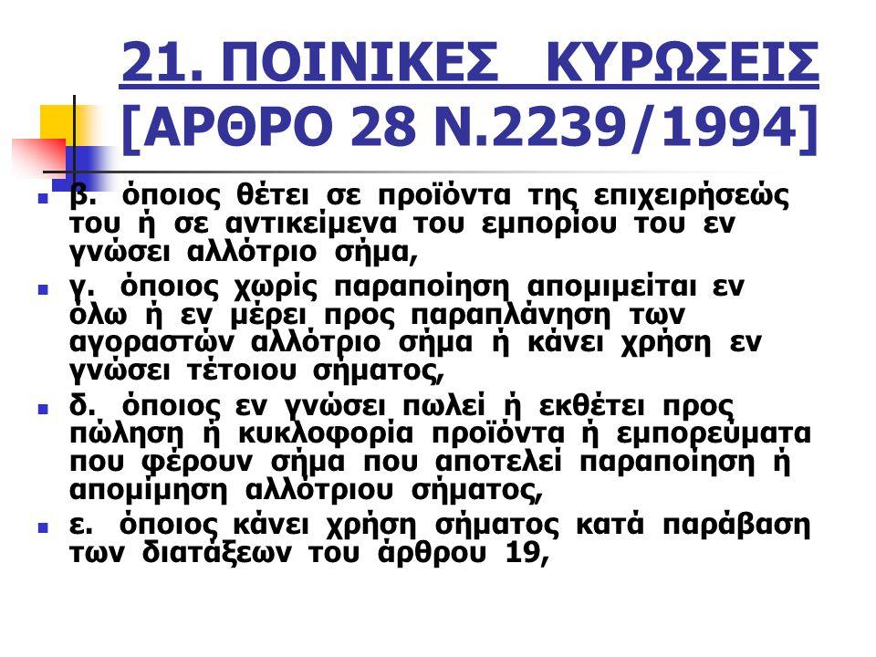 21. ΠΟΙΝΙΚΕΣ ΚΥΡΩΣΕΙΣ [ΑΡΘΡΟ 28 Ν.2239/1994]
